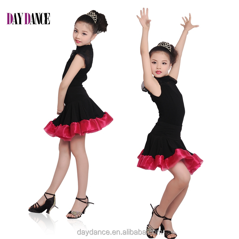Child Kid High Neck Modern Latin Dance Dress Girls Elegant Performance Skirt Suit