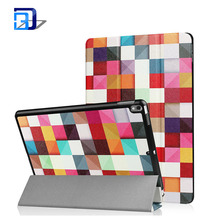 New arrival printing painted pu leather case three folding tablet case for ipad pro 10.5 2017