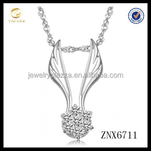 925 sterling silver angelic star elements crystal with angel wings pendant necklace