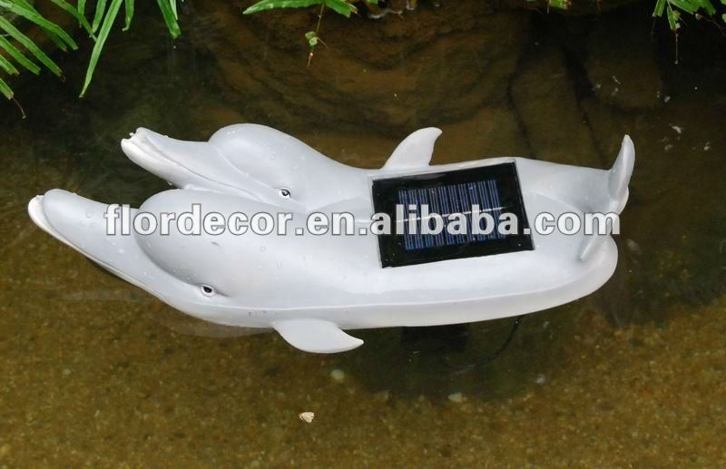 emulational resin made white dolphin modelling garden pool decorative solar fountain(SO5002-1)