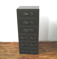 Black faux leather chest of 9 drawers