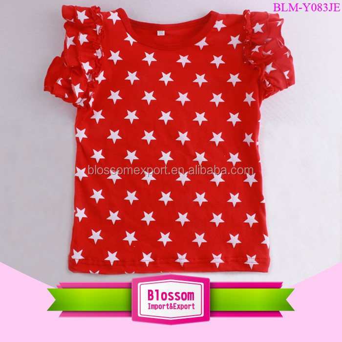 Baby Summer 2017 Bulk Wholesale Baby Smocked Children's Boutique Clothing 4th of July Red White Star Flutter Sleeve Girls Tops