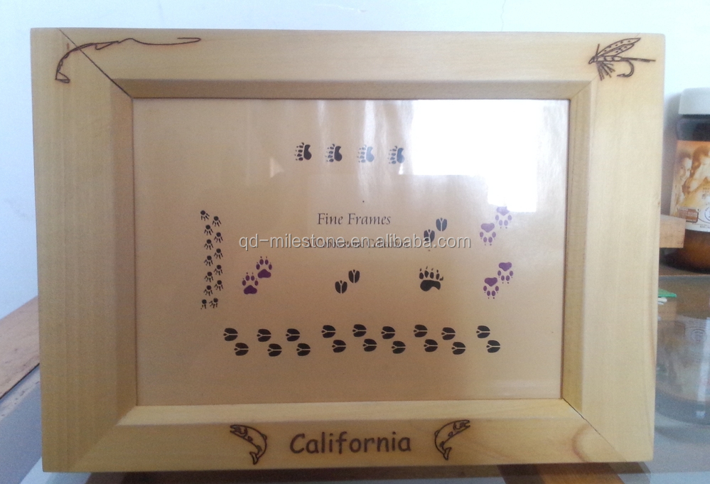 unfinish wooden photo frame with glass