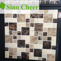 Low Cost High Quality Dark/Light Emperador Marble Square Mosaic