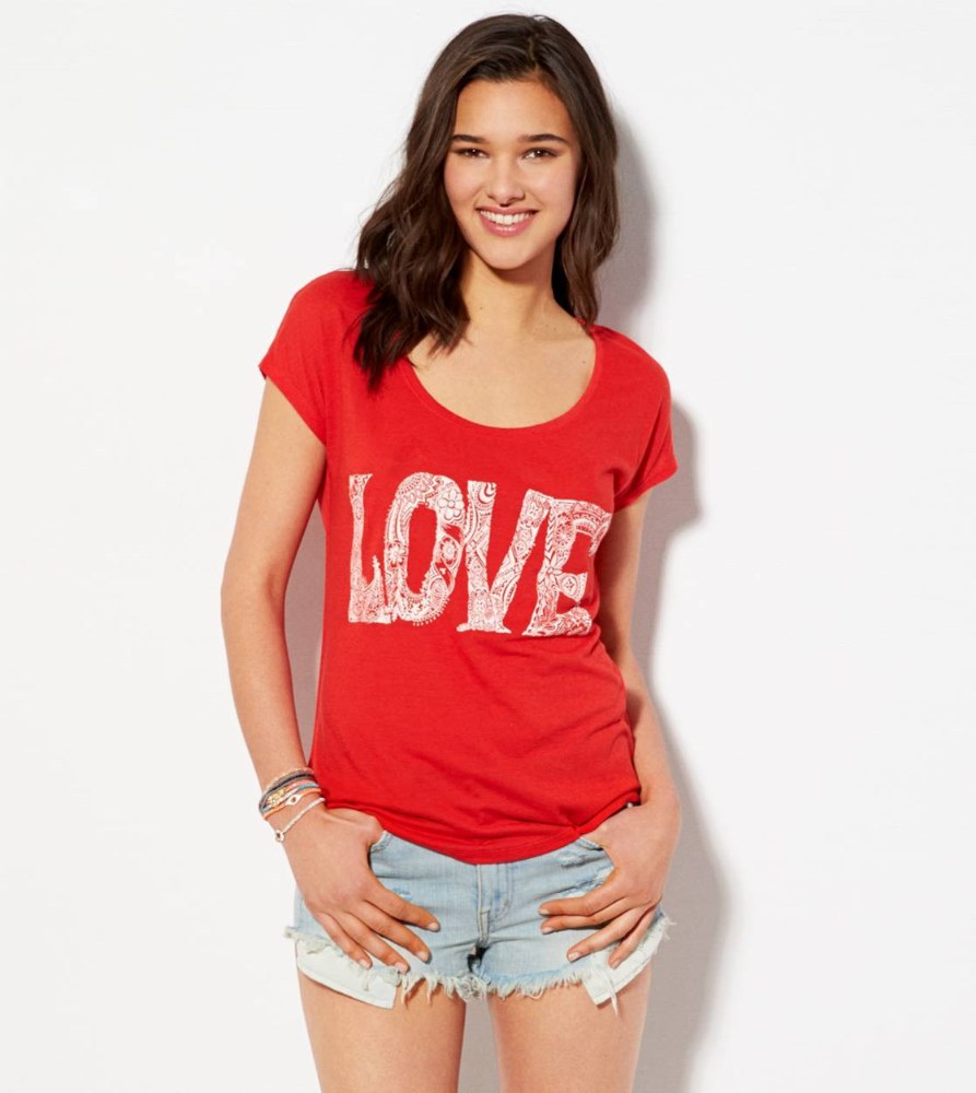 Red loose t shirt for girls in bulk