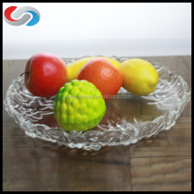 Round Engrave Clear Bow Glass Plate,Fruit Plate Table Fruit Dish