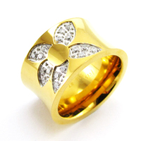 stainless steel new gold ring models for men crystals