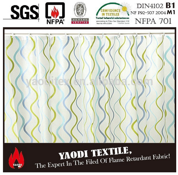 polyester printed flame retardant shower curtain fabric