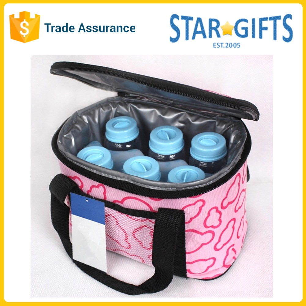 Zip Eco Nylon Oxford Insulated Six Bottles Baby Milk Tote Cooler Bag With Environmentally PVC
