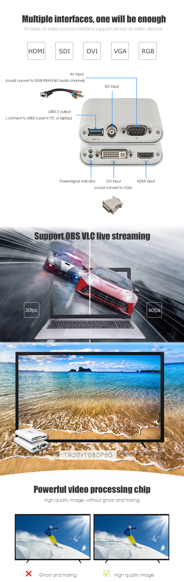 Hoge kwaliteit 1080P60 live streaming usb 3.0 hdmi video capture card