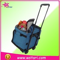 large capacity trolley fresh keeping package insulated cooler bag on wheel, Trolley wheeled rolling refrigerator cooler box bag