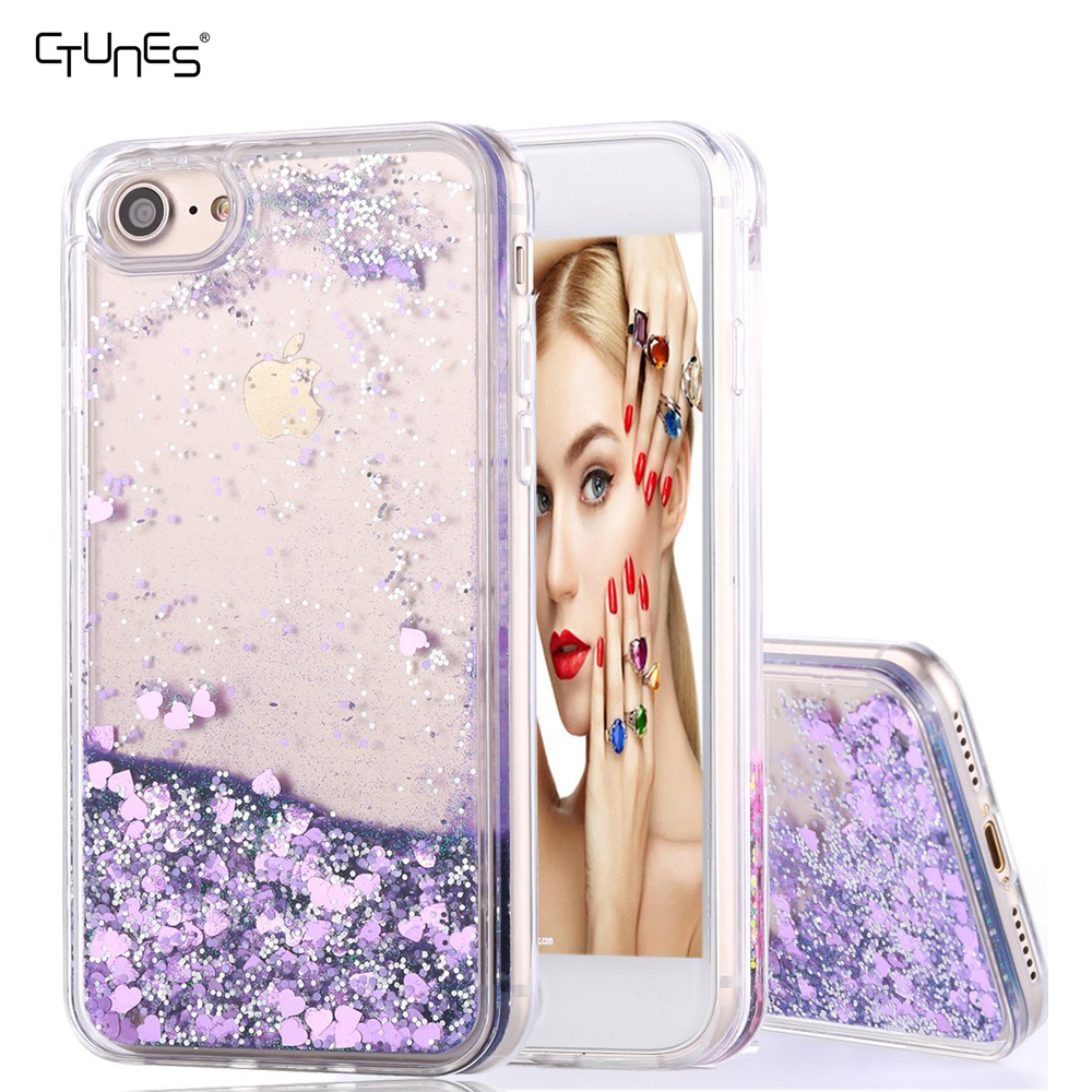 Flowing Liquid Glitter Bling Shine Floating Sand Shockproof Case Cover With Clear Hard PC+Soft TPU Bumper For iPhone 7 Plus