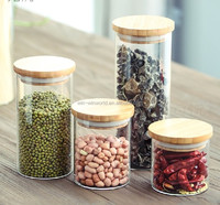 Airtight Kitchen Borosilicate Glass Storage Canister Sets With Bamboo Lids