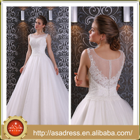 LBSS14 Elegant Scoop Neck with Pearls Sleeveless Wedding Dress Tulle White Low Back Bridal Train Dresses for Wedding Party