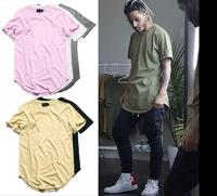 Wholesale high quality cotton extended hip hop curved hem t shirt men with your customize label