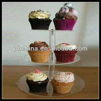 Modern Paramount Professional Rournd Clear 3 tier cupcake stand/cupcake stand crystals