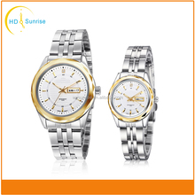 high quality sapphire crystal japan movement couple stainless steel watch with your logo
