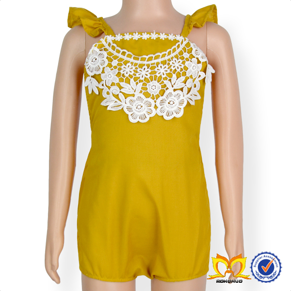 Trendy Newborn Baby Romper Yellow Plain Lace Flutter Sleeve Design Clothes Baby Girl Romper.