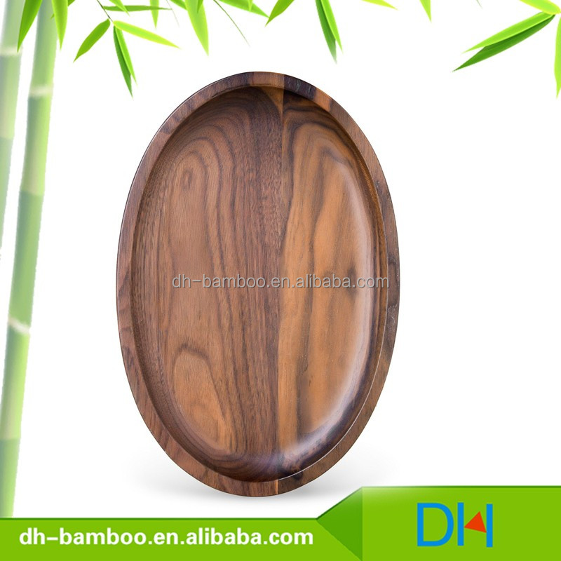 From USA Black Walnut Timber, High Quality Oval Shape Black Walnut Wooden Serving Tray/Dishes