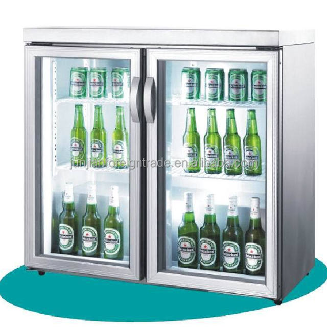 CHEERING Bar Equipment Guangzhou Factory Stainless Steel 2 Glass Door  Refrigerated Display Case For Beer