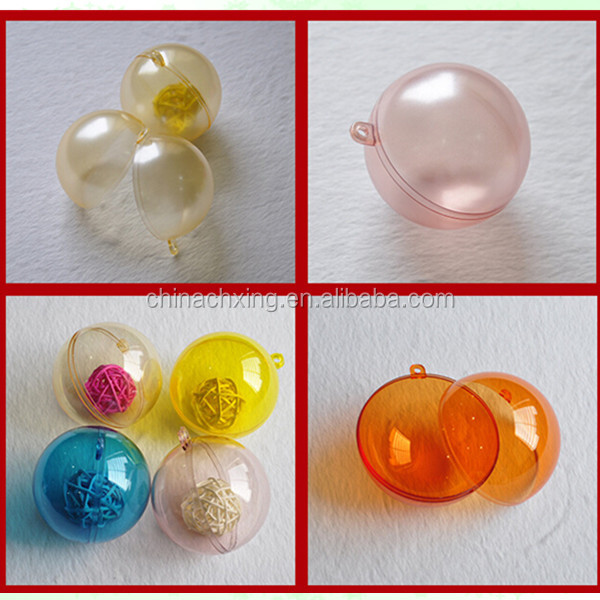 China Regional Feature and Artificial Style colorful Clear Plastic Ball fillable Ornament