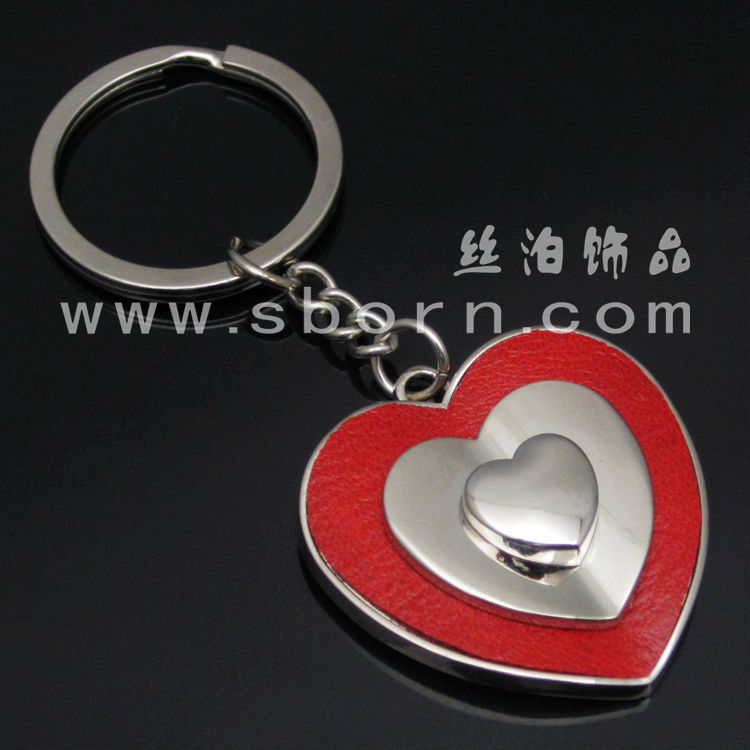 custom leather heart keychain for women