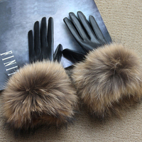 Women Winter Genuine Sheepskin Leather Gloves Real Raccoon Fur Gloves