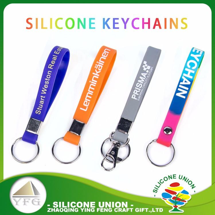 Personnalisé personnalisé bracelet silicone porte-clés, porte-clés en caoutchouc, silicone porte-clés