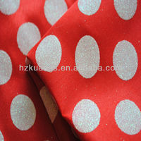 100% polyester glitter printed satin fabric for christmas decoration