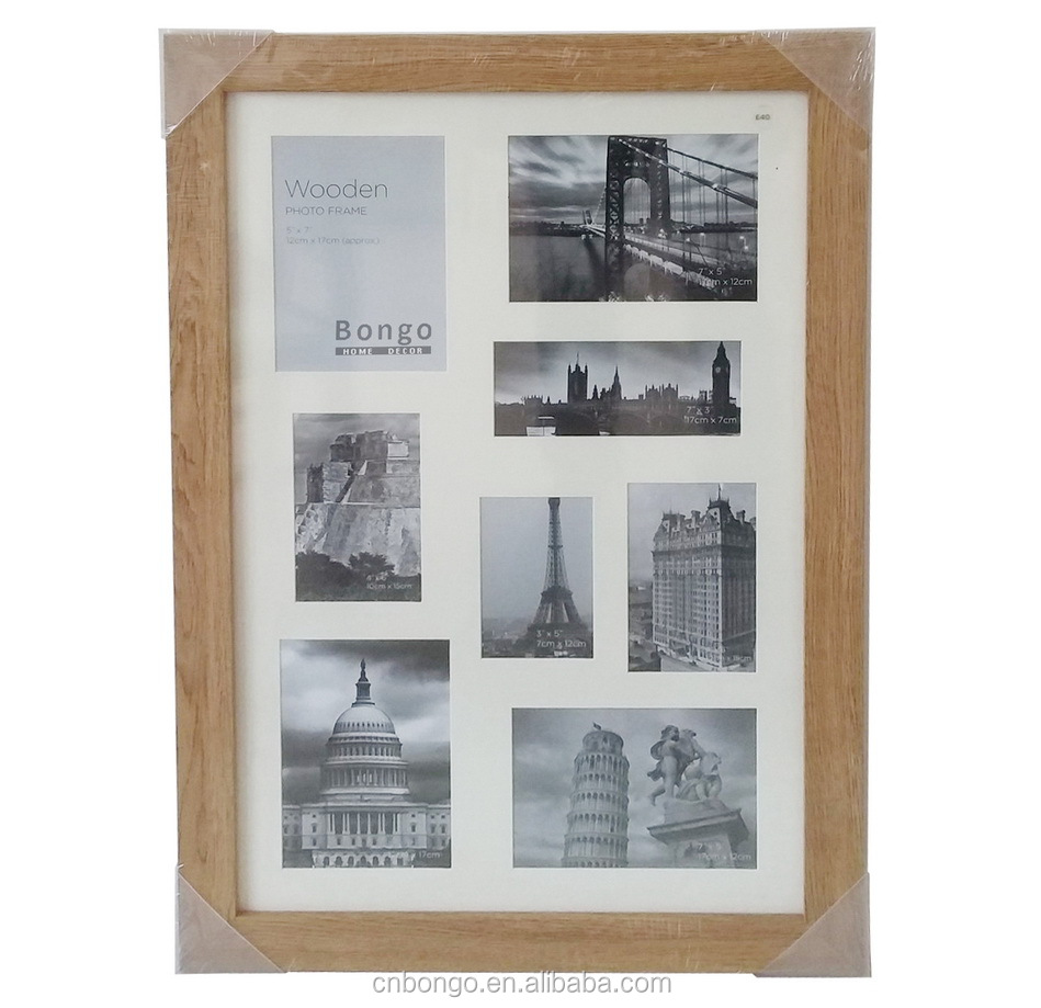 bulk cheap multi windows wood picture frames,big size wall hanging wood photo frames