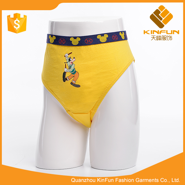 Popular selling anti-wrinkle yellow breathable cotton boys slip briefs
