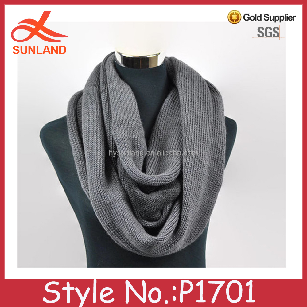 P1701 Two toned infinity grey scarf Boyfriend gift Winter knitted warm muffler