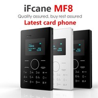 Mini E1 Pocket Mobile Phone IFcane MF8 credit card phone LED for children FM Bluetooth PK AIEK M5 M3 Q1