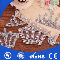 Iron on flat back rhinestone crown embellishment,crystal rhinestone crown embellishments for fashion bags