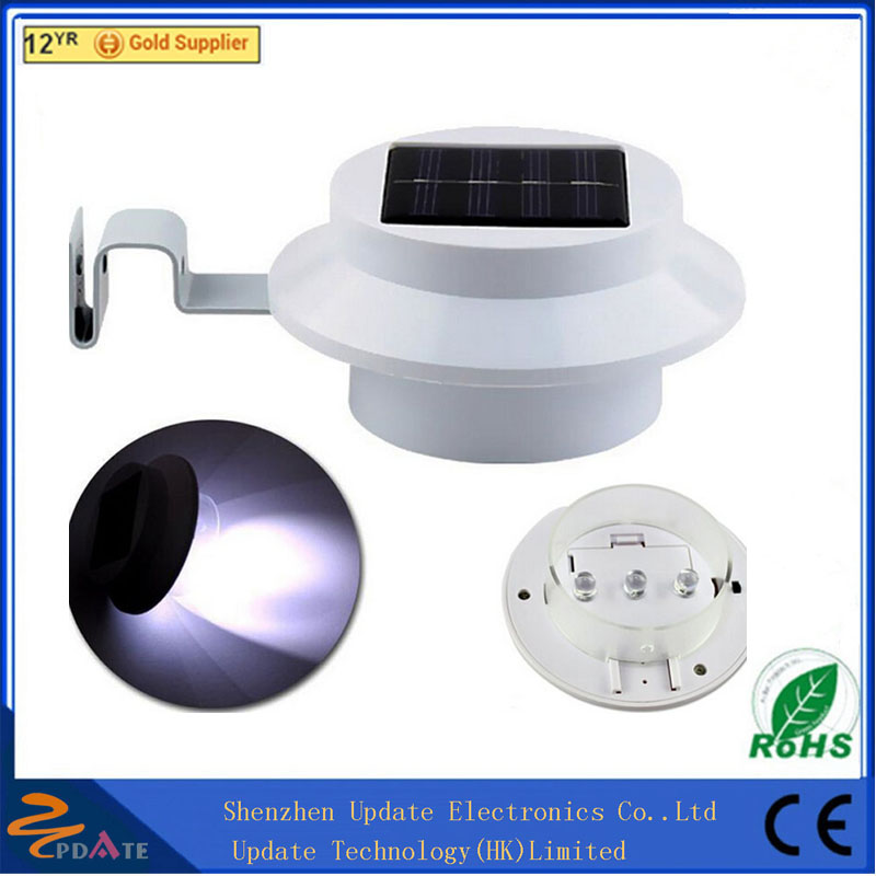 Solar Power Fence Gutter Wall Post Outdoor Garden Light 3 LED ABS Pure White Warm White Cheap Price Solar Lamp