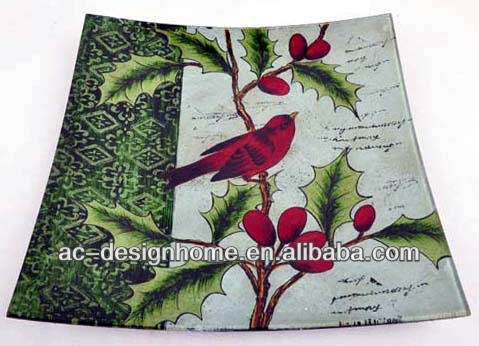 SQUARE HOLLY, BERRY AND CARDINAL BIRD ART GLASS PLATE