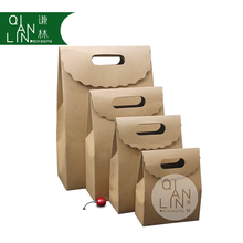 Recycled Autohesion SOS Brown Kraft Paper Bag Fast Food Take away Paper Bag