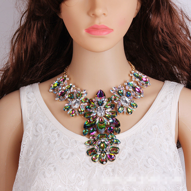 2017 New Bohemian Wedding Jewelry Luxury Crystal Chokers Statement Necklace For Women Multi Color Maxi Necklace
