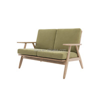 elegant shape wooden living room sofa japanese style simple design sofa with ash wood & fabric