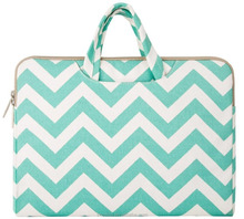 Laptop Briefcase, Mosiso 12 inch Chevron Blue Canvas Fabric Briefcase Carry Case soft shell laptop sleeve with handle