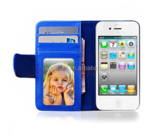 For iPhone 4 4S Clear Card Slots PU Leather Stand wallet Cover Case