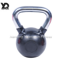 Wholesale High Quality Black Rubber Coated Kettlebell with Chrome Handle