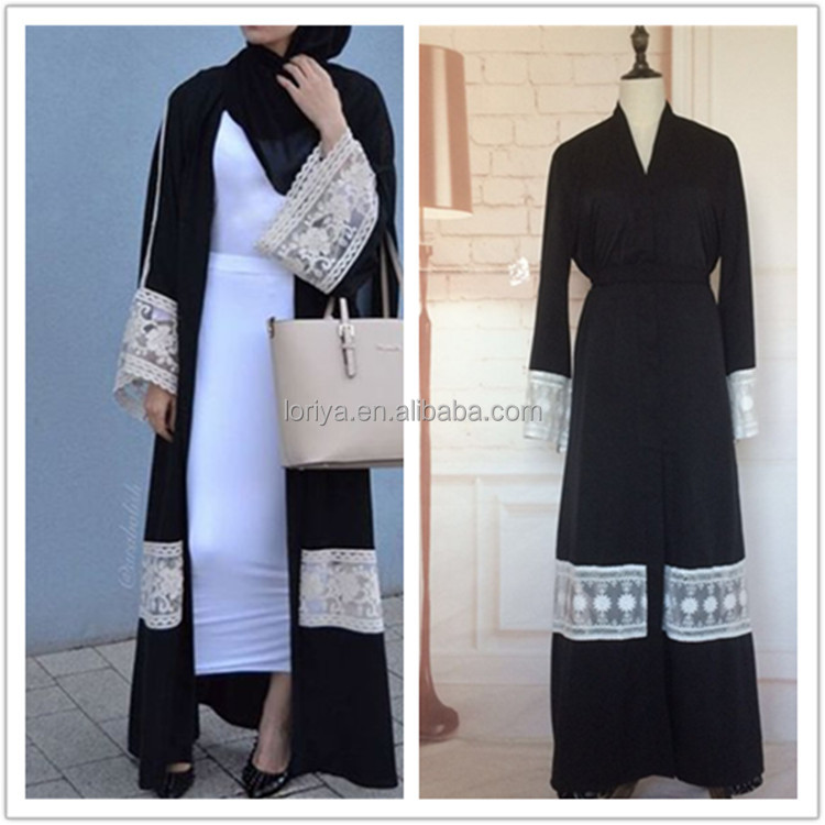 Excellent quality stylish latest black abaya designs 2016 fashion islamic dubai front open abaya