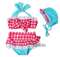Blue Red Blue Check White Lace Tutu Bikini Swimsuit and Hat