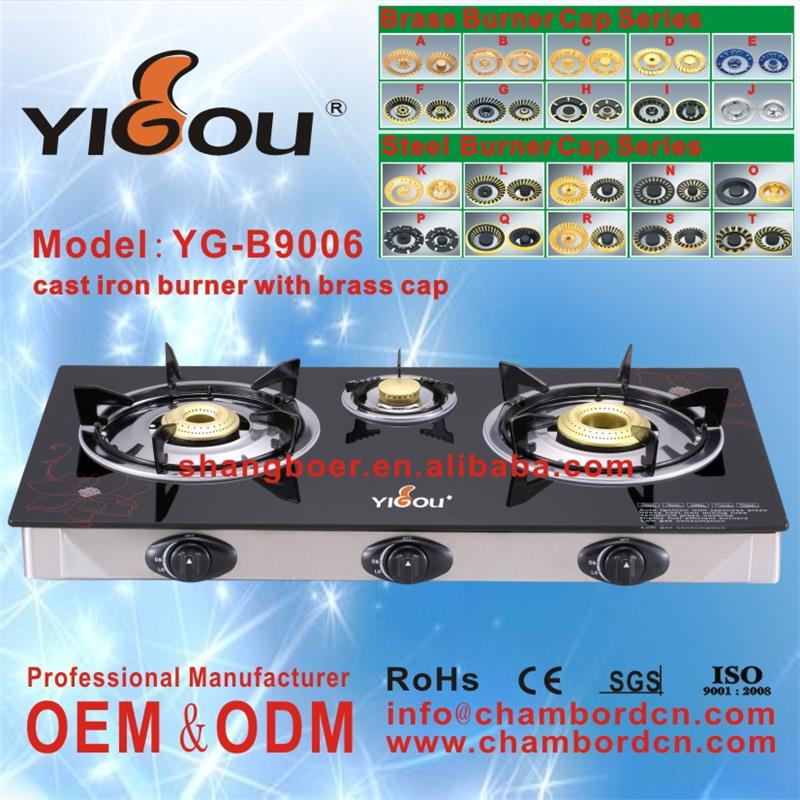 YG-B9006 butane gas cartridge stove with 2 3 4 5 6 burners stainless steel golden cooking range