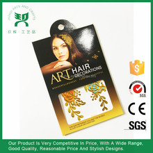 Hair Tattoo Gold Metallic Temporary Tattoo Sticker