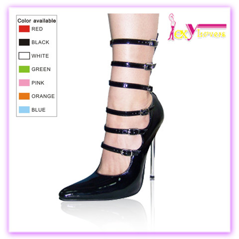 Sexy buckle black stripper pointed-toe stiletto women pump shoes 2017