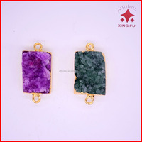 2016 rectangle crystal quartz druzy connector pendant,coated gold agate stone double bails dip necklace