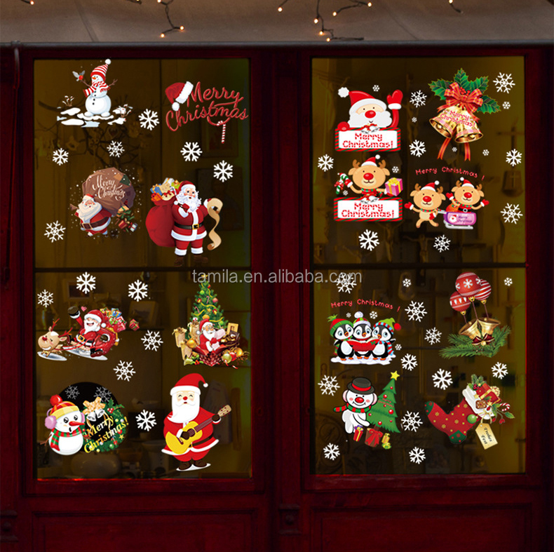 Merry Christmas Santa Claus Christmas Trees Happy New Year Snowman Glass Wall Sticker
