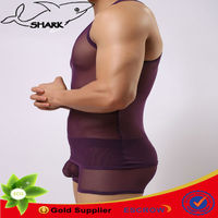 Sexy bodybuilding undershirts extreme hot male undergarment net fabric